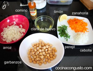nuggets de garbanzos - ingredientes