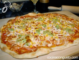 pizza de pollo mexicana